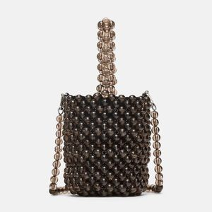 Zara grey mini beaded bucket bag
